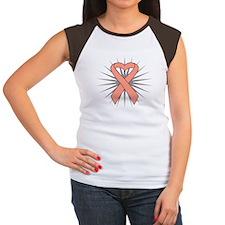 Uterine Cancer Heart Ribbon Women's Cap Sleeve T-S