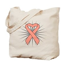 Uterine Cancer Heart Ribbon Tote Bag