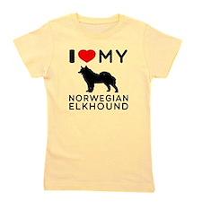 I Love My Norwegian Elkhound Girl's Tee