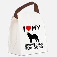 I Love My Norwegian Elkhound Canvas Lunch Bag