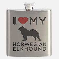 I Love My Norwegian Elkhound Flask