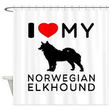 I Love My Norwegian Elkhound Shower Curtain