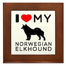 I Love My Norwegian Elkhound Framed Tile