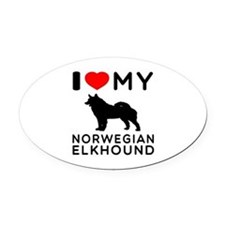 I Love My Norwegian Elkhound Oval Car Magnet