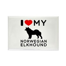 I Love My Norwegian Elkhound Rectangle Magnet