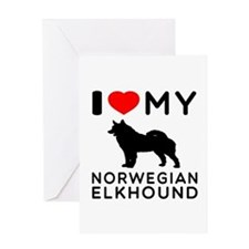 I Love My Norwegian Elkhound Greeting Card