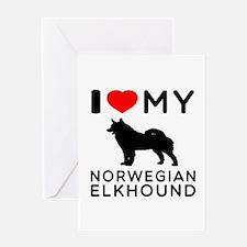 I Love My Norwegian Elkhound Greeting Card
