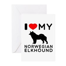 I Love My Norwegian Elkhound Greeting Cards (Pk of