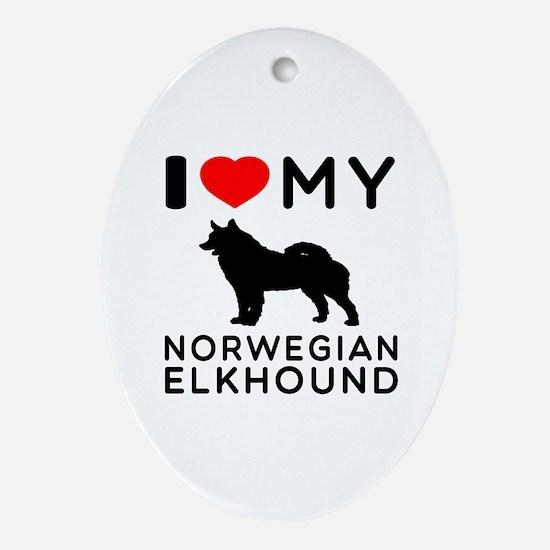 I Love My Norwegian Elkhound Ornament (Oval)