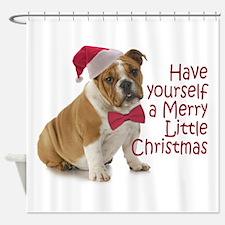 Santa Bulldog Shower Curtain