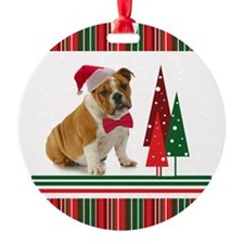Santa Bulldog Ornament