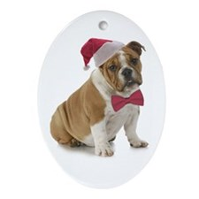 Santa Bulldog Ornament (Oval)