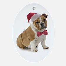 Santa Bulldog Ornament (Oval)
