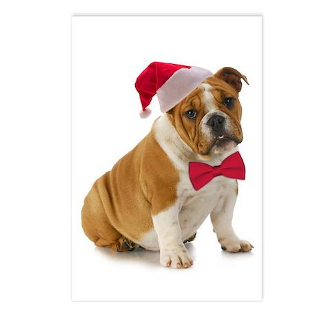 Santa Bulldog Postcards (Package Of 8)