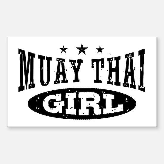 Muay Thai Girl Sticker (Rectangle)
