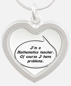 Math Teacher Pun Silver Heart Necklace