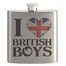 I Love British Boys Flask
