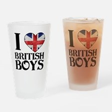 I Love British Boys Drinking Glass