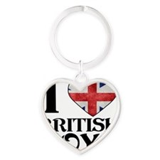 I Love British Boys Heart Keychain
