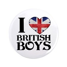 "I love heart British Boys 3.5"" Button"