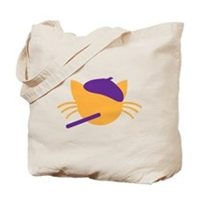 Cat FRENCH beret cute with whiskers Tote Bag