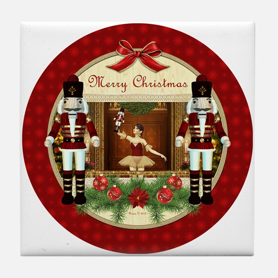 Red Nutcracker ballerina round Tile Coaster