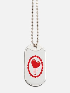 Bleeding red heart Dog Tags