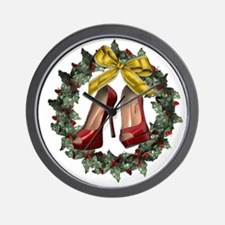 Red Stiletto Shoe Holiday Wreath Wall Clock