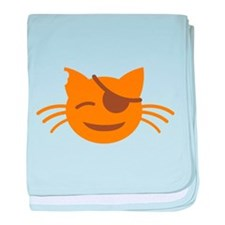 Cute Cat Pirate kawaii face baby blanket