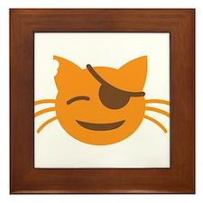 Cute Cat Pirate kawaii face Framed Tile