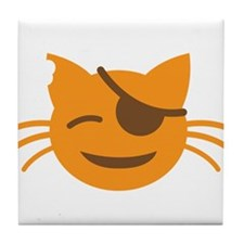 Cute Cat Pirate kawaii face Tile Coaster
