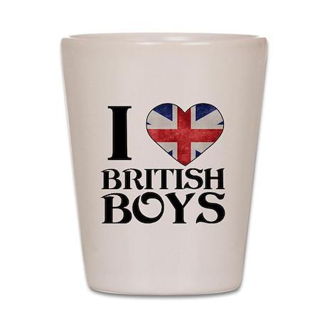 I love heart British Boys Shot Glass