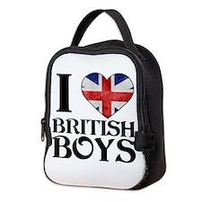 I love heart British Boys Neoprene Lunch Bag