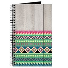 Vibrant Pink Turquoise Aztec Pattern Gray  Journal