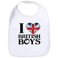 I love heart British Boys Bib