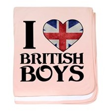 I love heart British Boys baby blanket