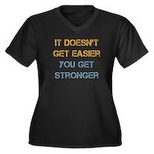 You Get Stronger Women's Plus Size V-Neck Dark T-S