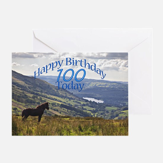 100th Birthday with a horse. Greeting Cards