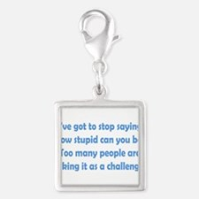 How Stupid Can You Be? Silver Square Charm
