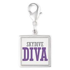 Skydive DIVA Silver Square Charm