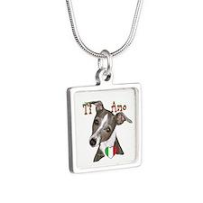 Italian Greyhound ti amo Silver Square Necklace