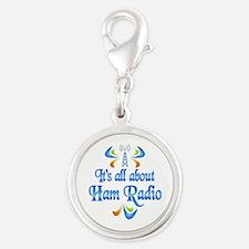 About Ham Radio Silver Round Charm