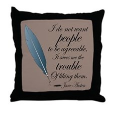 Jane Austen Agreeable People Quote Throw Pillow