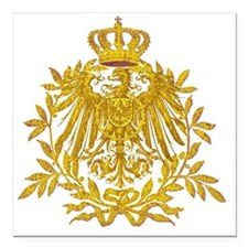 "Gold German Eagle crest Square Car Magnet 3"" x 3"""