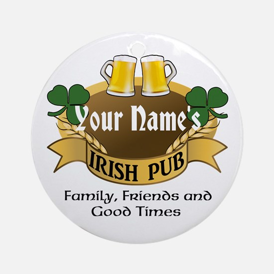 Personalized Name Irish Pub Ornament (Round)