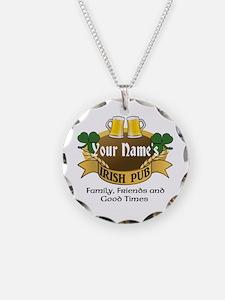 Personalized Name Irish Pub Necklace Circle Charm