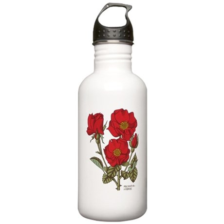Polyantha Red Roses Stainless Water Bottle 1.0L