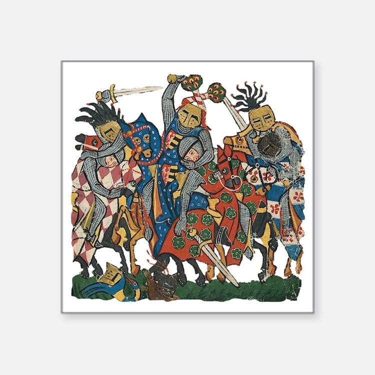 """Medieval Knights in Combat Square Sticker 3"""" x 3"""""""