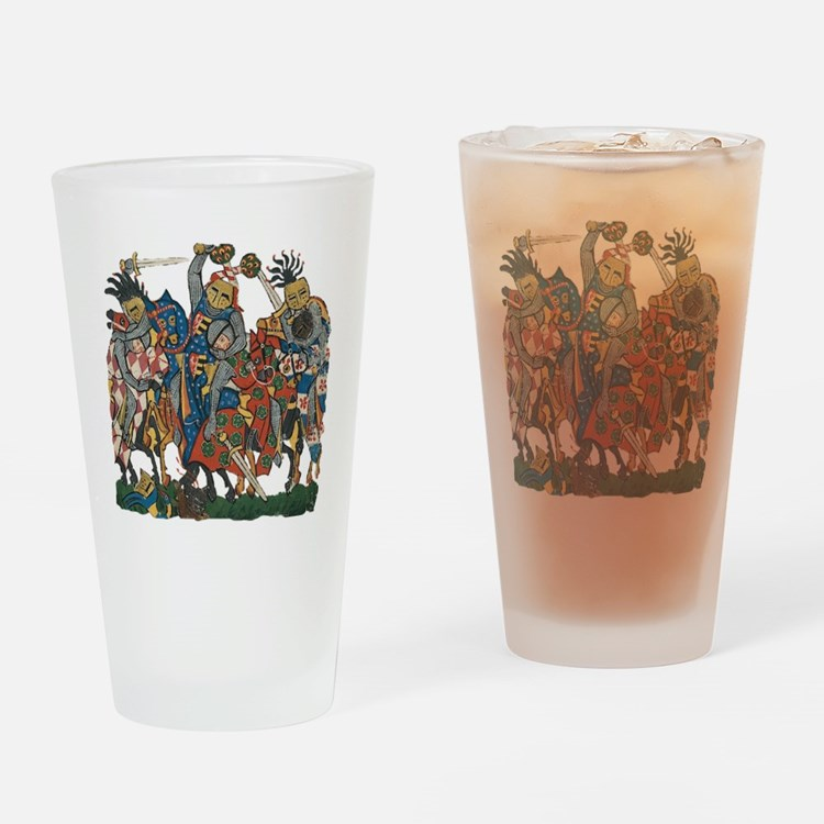 Medieval Knights in Combat Drinking Glass