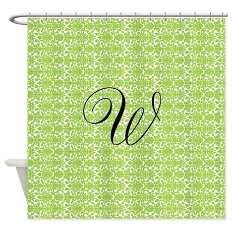 lime white damask monogram shower curtain